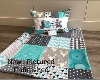 NEW! Teal and Grey Deer, Art Gallery Gender Neutral, quilt and pillow set