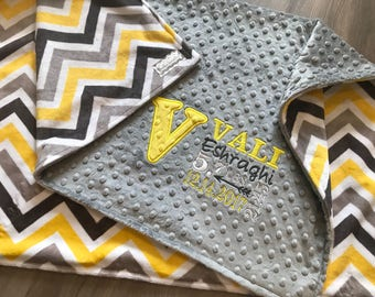 New! Yellow and Grey Chevron Double sided  Minky Gender Neutral Baby Blanket, SALE!