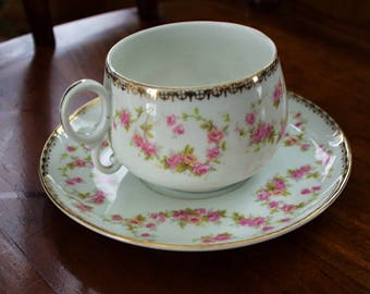BRIDAL WREATH - Vintage Fine Bone China Austrian Teacup and Saucer - Signed A P AUSTRIA