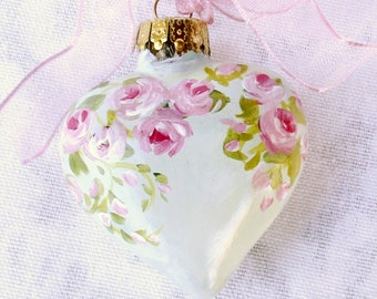 Pink Rose Heart Ornament ~ February Birthday ~ Shabby Rose Ornament ~ Handpainted Roses~ Wedding Favor