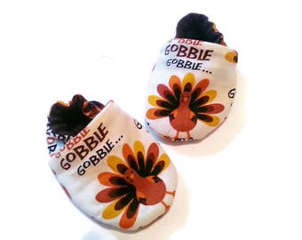 Thanksgiving Booties Turkey Soft Sole Shoes Gobble Til You Wobble Fall Orange Brown Lined Slipper Cotton Newborn Maternity Baby Shower Gift