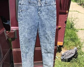 High waisted acid wash blue denim skinny jeans punk thrash pants size 8