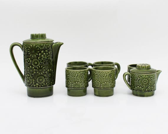 Vintage 1960s Green Pottery Tea Coffee Service -  7 Pieces