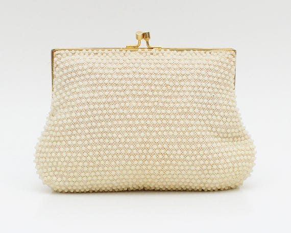 Vintage 1960s Cream Beaded Evening Bag