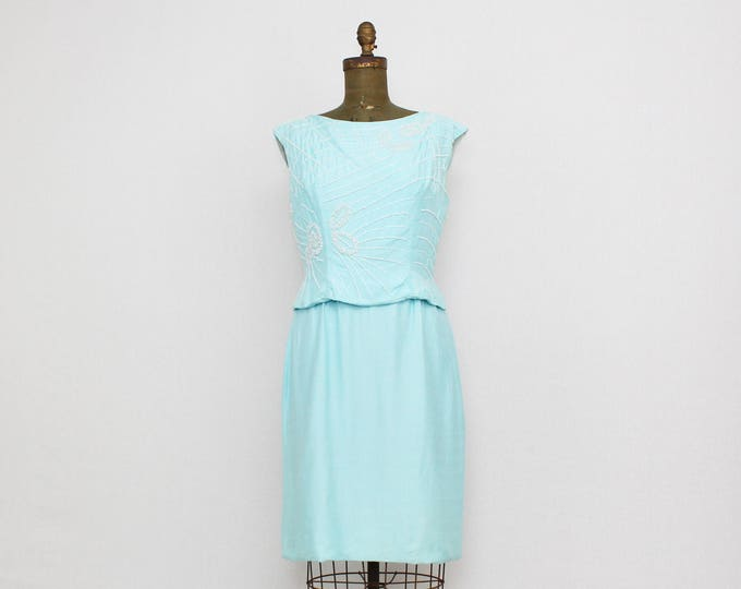 Vintage 1950s Turquoise Beaded Cocktail Dress - Size Medium