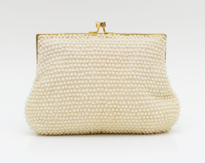 Vintage 1960s Cream Beaded Evening Bag