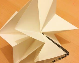 Origami sketchbook, screen printed cover