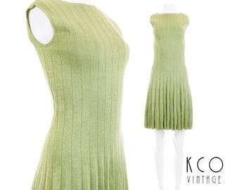 "60s Mod Dress Pleated Mini Dress Mint Green Lurex Knit Shift Dress 60s Mod Clothing Made in Italy Vintage Clothing Women's Size XXS 32"" Bust"