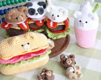 Yummy Bear Amigurumi Bear burgers, Sandwich and Milkshake Crochet Pattern Amigurumi Food + Bear Cookie Bonus pattern