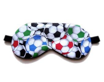 Sleep Mask Boys Eyemask, Kid Child Soccer Balls, Gift Present Black Fleece Satin Cotton, Travel Night Nap Eye Shade Cover, Blindfold Sports