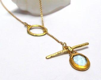 Aquamarine Pendant - Gold Pendant - 24 K Gold Pendant - 18 k Gold Necklace - Aquamarine Necklace - Free Shipping!!!