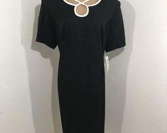 NWT Vintage Dawn Joy II Black & White Tie Back Dress 16 Career Church