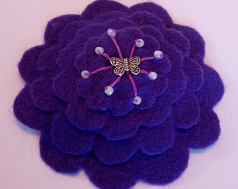 Layered flower kippah with beads