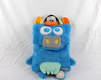 Backpack cuddly cow blue faux fur fleece and cotton