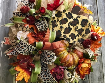 Fall Wreath, Thanksgiving Wreath, Autumn Wreath, Leopard Pumpkin Wreath, Pumpkin Wreath, Fall Decor, Thanksgiving Decor