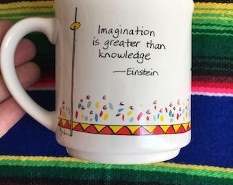 Vintage Einstein Imagination Cartoon Mug, Albert Einstein Quote