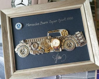 Mercedes Benz 1928 Code M 198, Steampunk Art, Gifts for Men, Luxury Gift, Wedding Gift, Office Decor, Home Decor, Wall Art, Christmas gifts