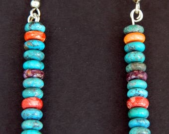 Native American Navajo Handmade Turquoise  Spiny Oyster Rondelle Sterling Silver Earrings