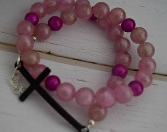 Bracelet For Best Friend   Gift-For-Girlfriend, Gift-For-Wife, Pink Bracelet For Her, Bracelet Gift For Christian, Gift-For-Sister