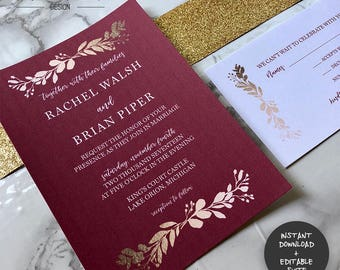 Maroon & Gold Wedding Invitation Suite | INSTANT DOWNLOAD | Editable PDF| Do It Yourself | Printable