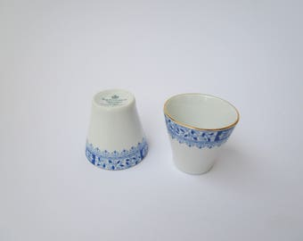 Seltman Weiden set of 2 egg cups, white blue floral pattern, Dorothea, German vintage