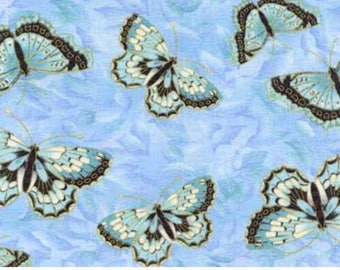 Butterfly fabric with ice blue background