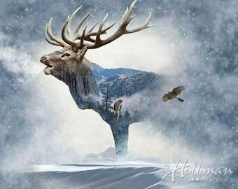 "Wildlife panel with large bull elk in the mist. ""Call of the Wild""."