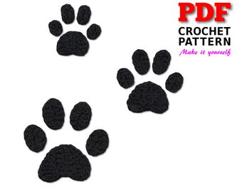 Paw Print Crochet Pattern, Paws Applique, Dog Paw Prints, Three sizes of Paws, Paw Designs, Paw Pattern, Paw Prints, Instant Download
