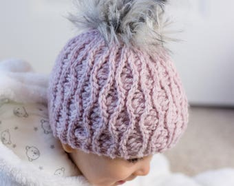 Baby pom pom hat, baby girl hat, winter baby girl hat, pom pom hat, baby pom pom beanie, toddler pom pom hat, girls pom pom hat