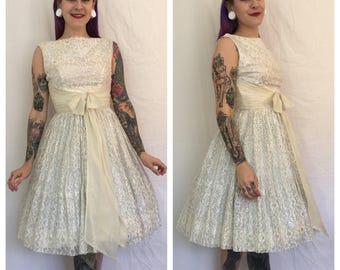 FLASH SALE Vintage 1950's White Lace Dress