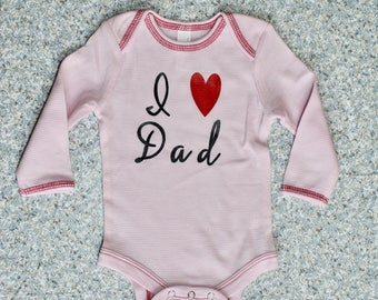 Father's Day I Love Day Pink Long Sleeve Thin Thermal Onesie