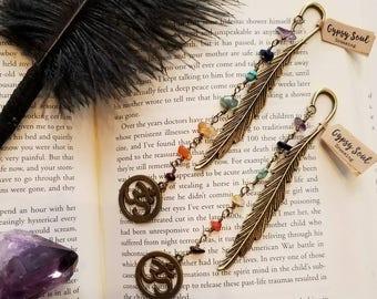 Bookmark // Feather // Chakra // Ohm // Antique Bronze