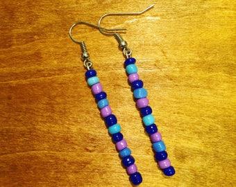 Blue + purple beaded earrings