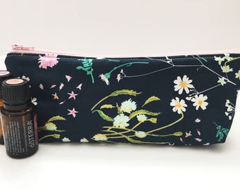Navy and Teal Floral Essential Oil Case, Navy Essential Oil Pouch, Teal Essential Oil travel Case, Essential Oil Bag, Essential Oils Storage