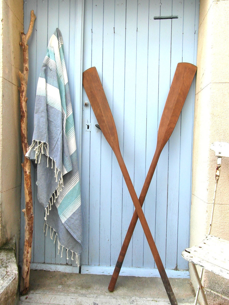 2 Long Vintage Wooden Oars Wall Decor Boat Paddles Canoe Paddles