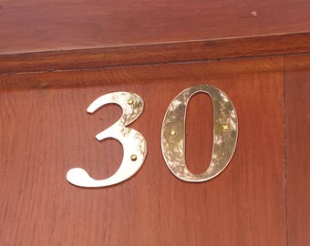 "Brass Garamond  house numbers -  75mm/3"" high cutout. handmade in polished or hammered finish g"