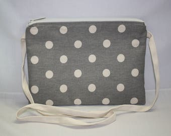 Shoulder Bag 10 x 7 Inches in Gray and Cream Polka Dot Canvas with Floral Cotton Lining and Twill Tape Shoulder Strap