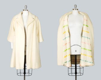 Vintage 50s LILLI ANN Cream Wool Mohair Swing Coat | 1950s Pastel Striped Lining Long Jacket