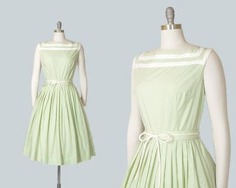 Vintage 1960s Dress | 60s Striped Cotton Sundress Mint Green White Full Skirt Day Dress (medium)