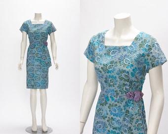 indigo floral + lace dress vintage 1960s • Revival Vintage Boutique