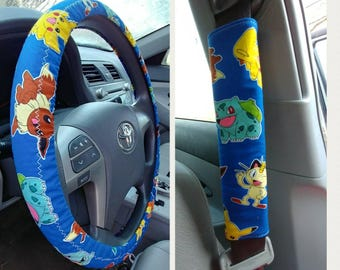 Pokemon Car Accessories Set~ Steering Wheel Cover, 2 Seat Belt Covers Handmade