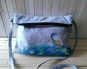Romantic style hand painted Peacock fabric shoulder bag