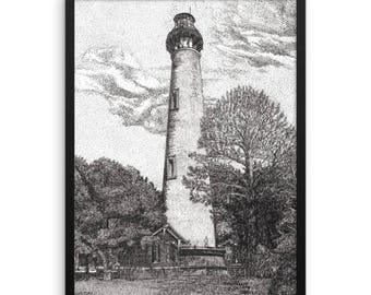 Currituck Beach Lighthouse, Outer Banks, North Carolina Pen and Ink Framed Photo Paper Poster