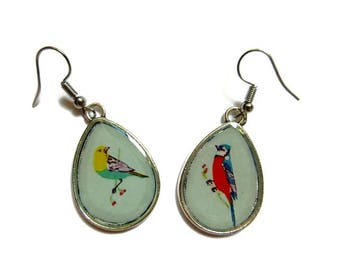 BIRDS EARRINGS - Teardrop Earrings - drop earrings bird Pattern -  BOHO Earrings - bird lover gift - bird Pattern - animal Earring - vintage