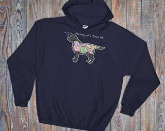 Anatomy of a Black Lab - Funny Labrador Retriever Hoodie - Dark Colors - Hooded Sweatshirt