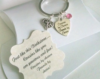 Cousin Gift, Gift For Cousins, Cousin Key Chain, Comes with Card in a Pillow Box, TINY, Charm is as Big as a Nickle