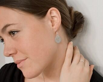 Silver teardrop earrings, filigree silver teardrop earrings, 925 sterling silver hooks. Free gift box