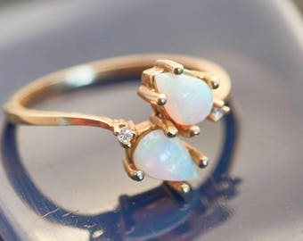 14K Yellow Gold African Dual Pear Fire Opals & Diamond Ring, Natural Opal 3/4 Ct