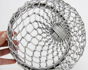 Vintage Metal Wire Bowl // Silver Aluminum Wire Woven Bowl // Braided Metal Basket