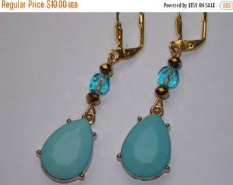 15%OFF Aqua Blue Teardrop Dangle Earrings